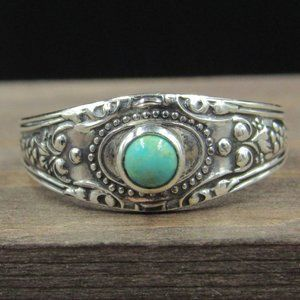 Size 7.25 Sterling Silver Ornate Turquoise Ring